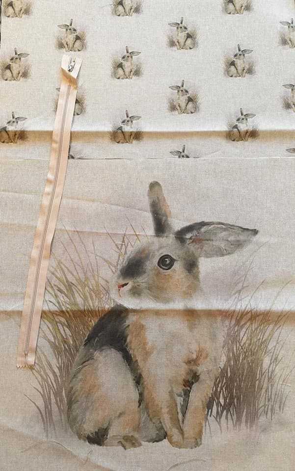 pop art prints linen digital cushion cover panel kit Rabbit