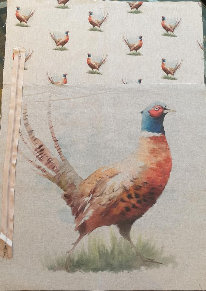pop art prints linen digital cushion cover panel kit pheasant