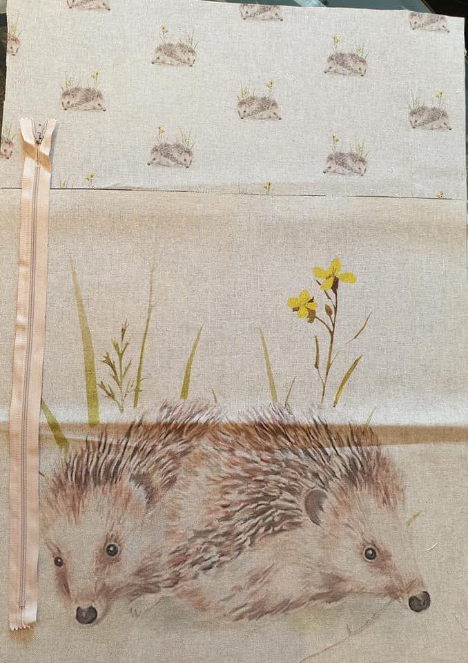 pop art prints linen digital cushion cover panel kit hedgehog
