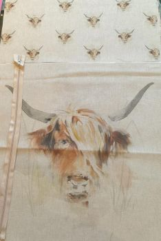 pop art prints linen digital cushion cover panel kit Highland cow