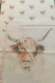 pop art prints linen look digital cushion cover panel kit Highland cow