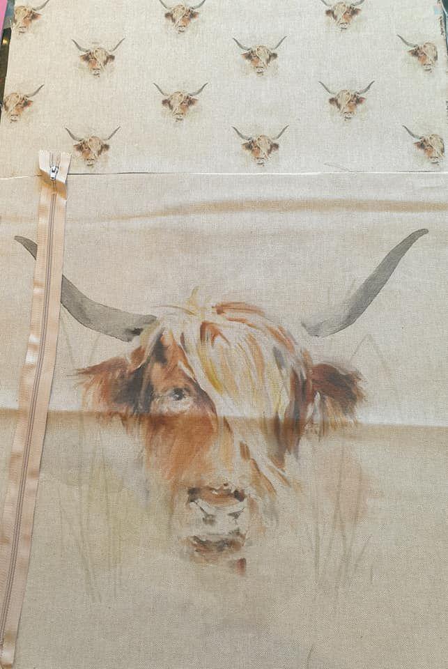 pop art prints linen digital cushion cover panel kit Highland cow