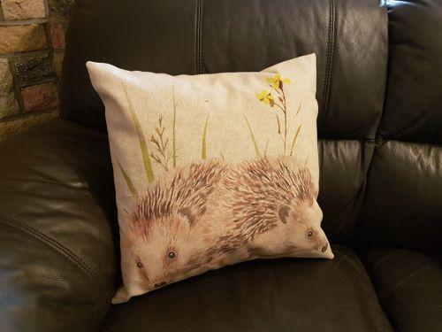 debbyspatch popart cushion hedgehog