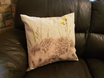 pop art prints linen digital hedgehog cushion complete
