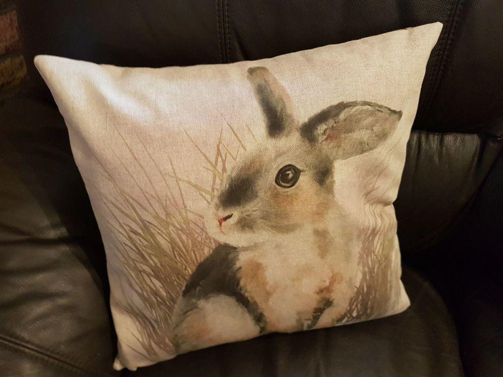 pop art prints linen digital rabbit cushion complete