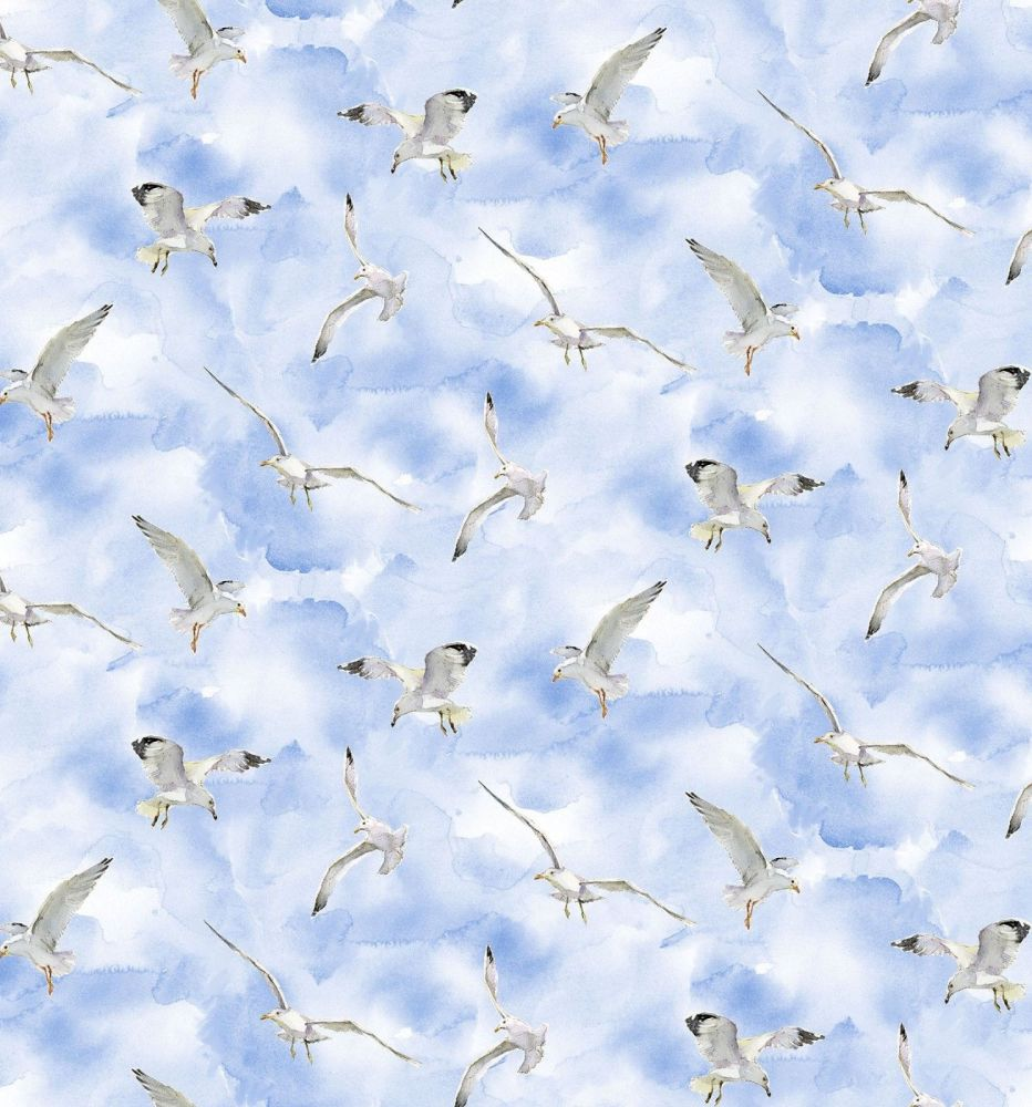 3 wishes at the shore digital fabric seagulls  16057