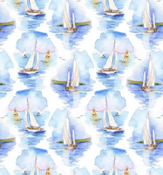 3 wishes at the shore digital fabric sailing boats 16054 PRICED PER 0.5 (HALF) METER