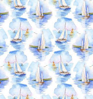 3 wishes at the shore digital fabric sailing boats 16054