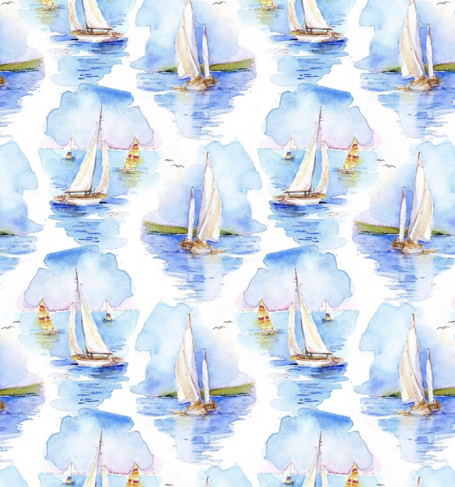 3 wishes at the shore digital fabric sailing boats 16054