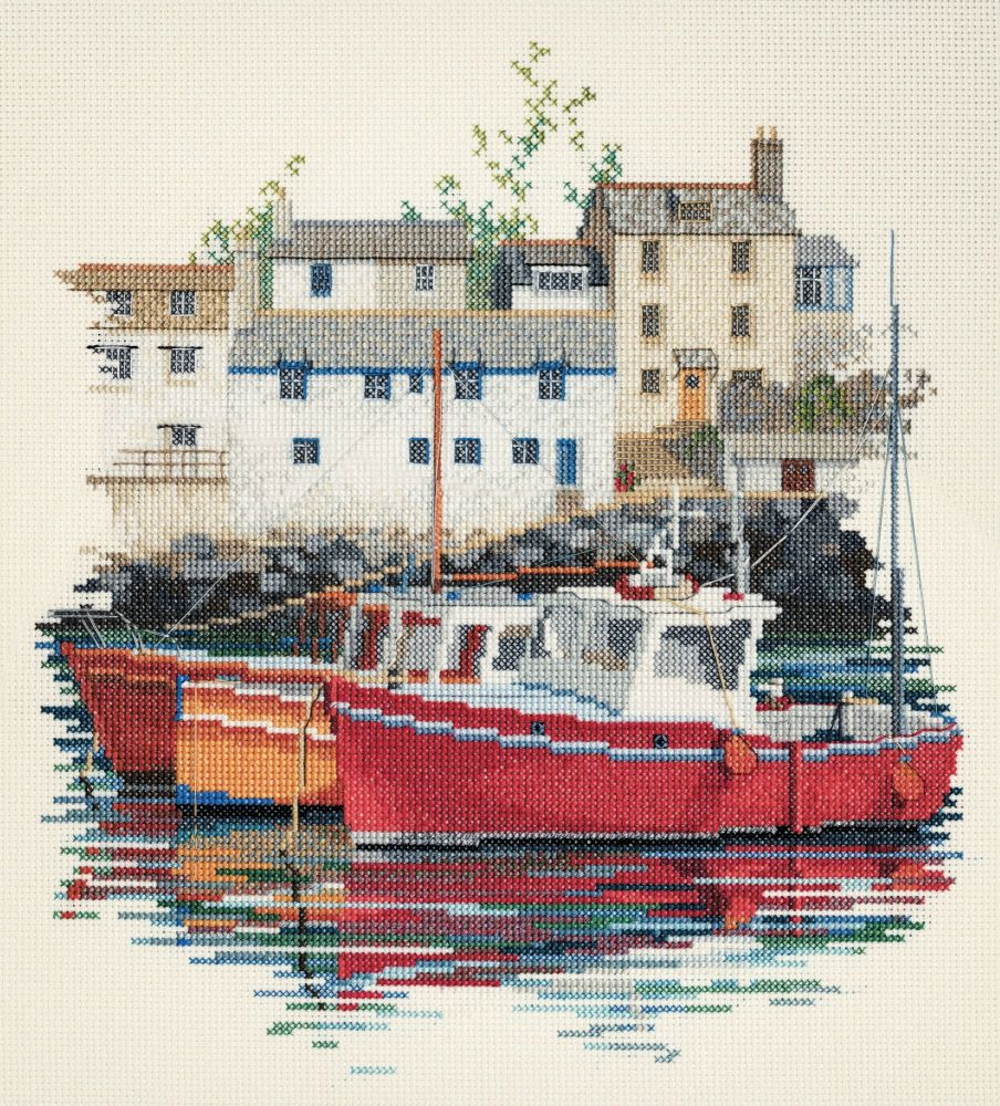 Derwentwater SEA04 embroidery coastal Britain - Fishing village