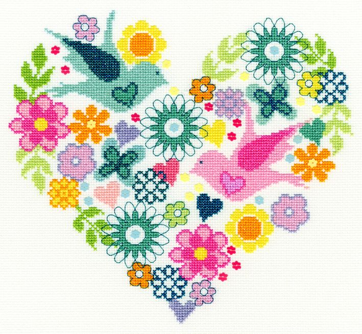 Bothy threads XB01 embroidery counted cross stitch range - Bouquet - Heart