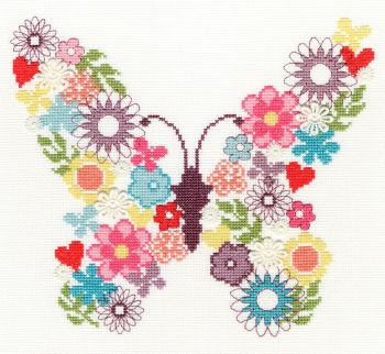 Bothy threads XB02 embroidery counted cross stitch range - Bouquet - Butterfly Bouquet