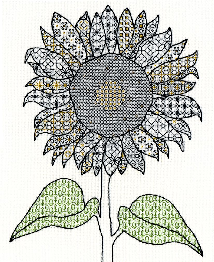 Bothy threads XBW01 embroidery counted cross stitch range - Blackwork - Sun