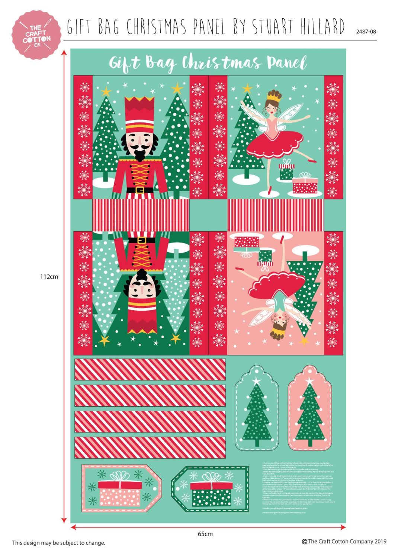 Nutcracker Gift Bag Panel Stuart Hillard 100% Cotton Fabric Material
