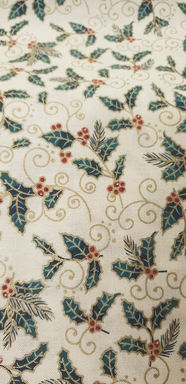 Cream Holly 100% Cotton Fabric Material