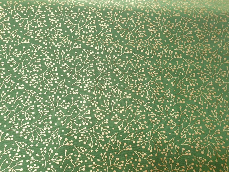 mistletoe / green  100% Cotton Fabric Material