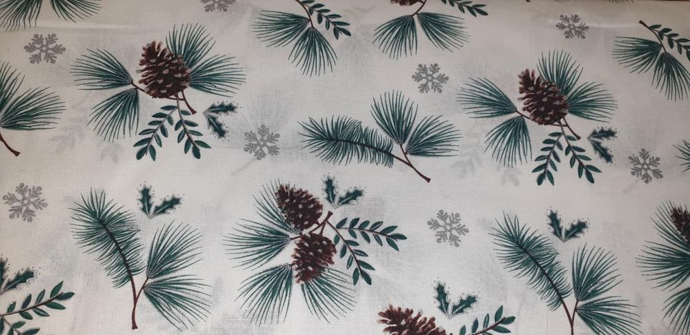 pine cones and leaves  100% Cotton Fabric Material