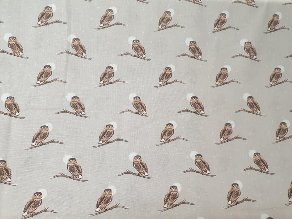 snowy owl  100% Cotton Fabric Material