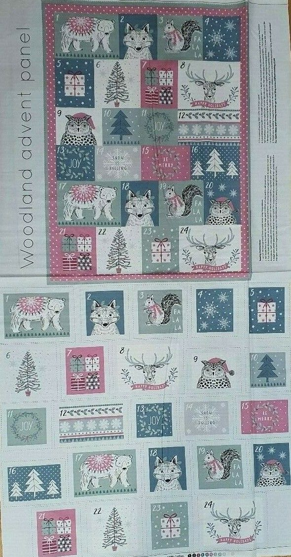 Woodland advent panel 100% Cotton Fabric Material