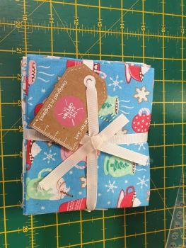 Christmas Hot Chocolate Church Tree 100% Cotton Fabric 5 Fat Quarter Bundle