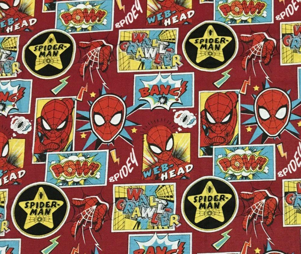 Marvel spiderman Comic Hero 100% cotton fabric