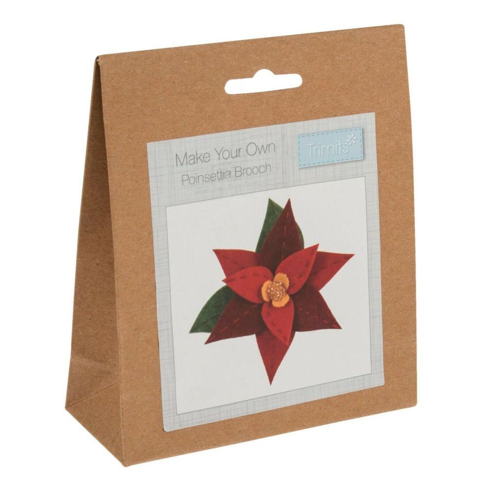 Felt kit make your own felt  poinsettia brooch  by Trimits