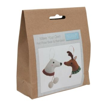 Felt kit make your own felt  polar bear & reindeer head  by Trimits