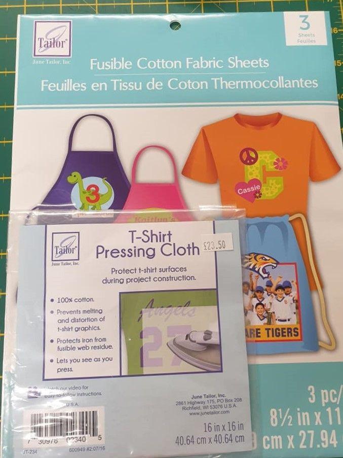 June Tailor fusible cotton fabric sheets &  T-Shirt Pressing cloth set