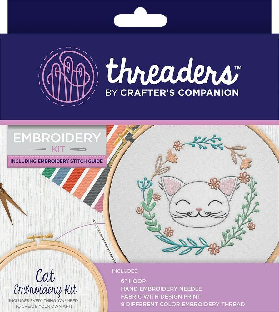 Threaders embroidery cat kit