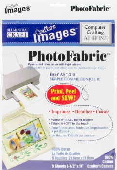 "Crafter's Images Sew-In Photo fabric 8.5""X11"" 5/Pkg-100% Cotton Canvas -10601016"