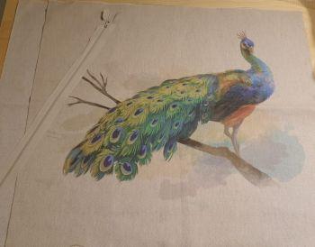 pop art prints linen digital cushion cover panel kit peacock