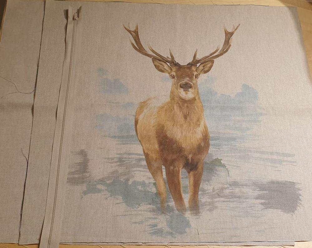 pop art prints linen digital cushion cover panel kit stag