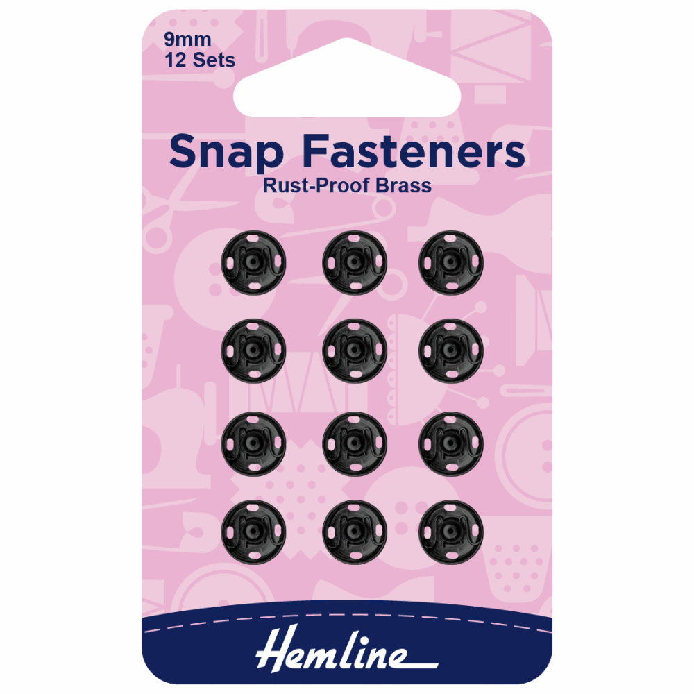 Snap fasteners by Hemline 9mm 12 x sets rust proof brass black