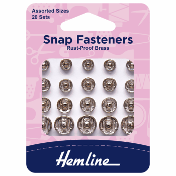 Snap fasteners by Hemline assorted sizes 20 x sets rust proof brass nickel