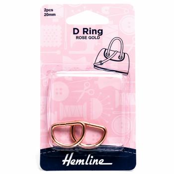 D ring x 2 by hemline 20mm rose gold by hemline