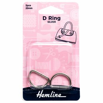 D ring x 2 by hemline 20mm silver by hemline