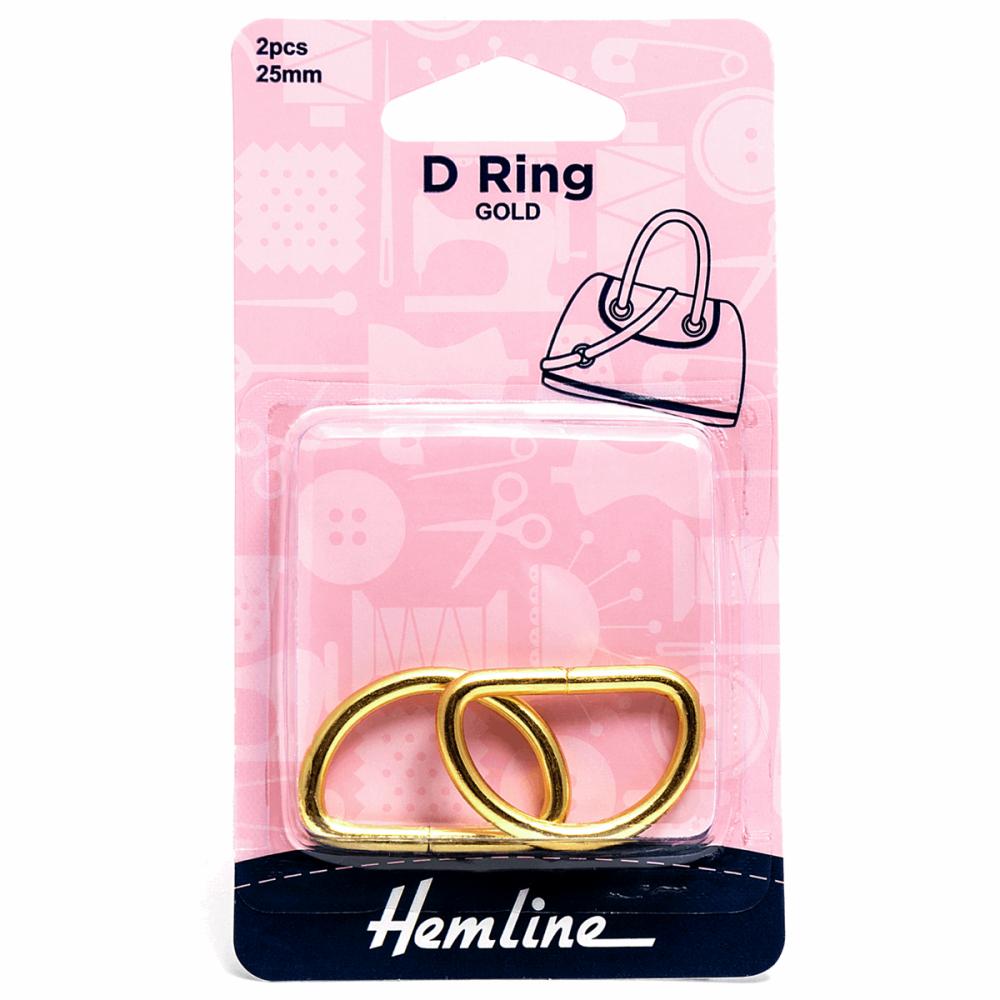 D ring x 2 by hemline 25mm gold by hemline