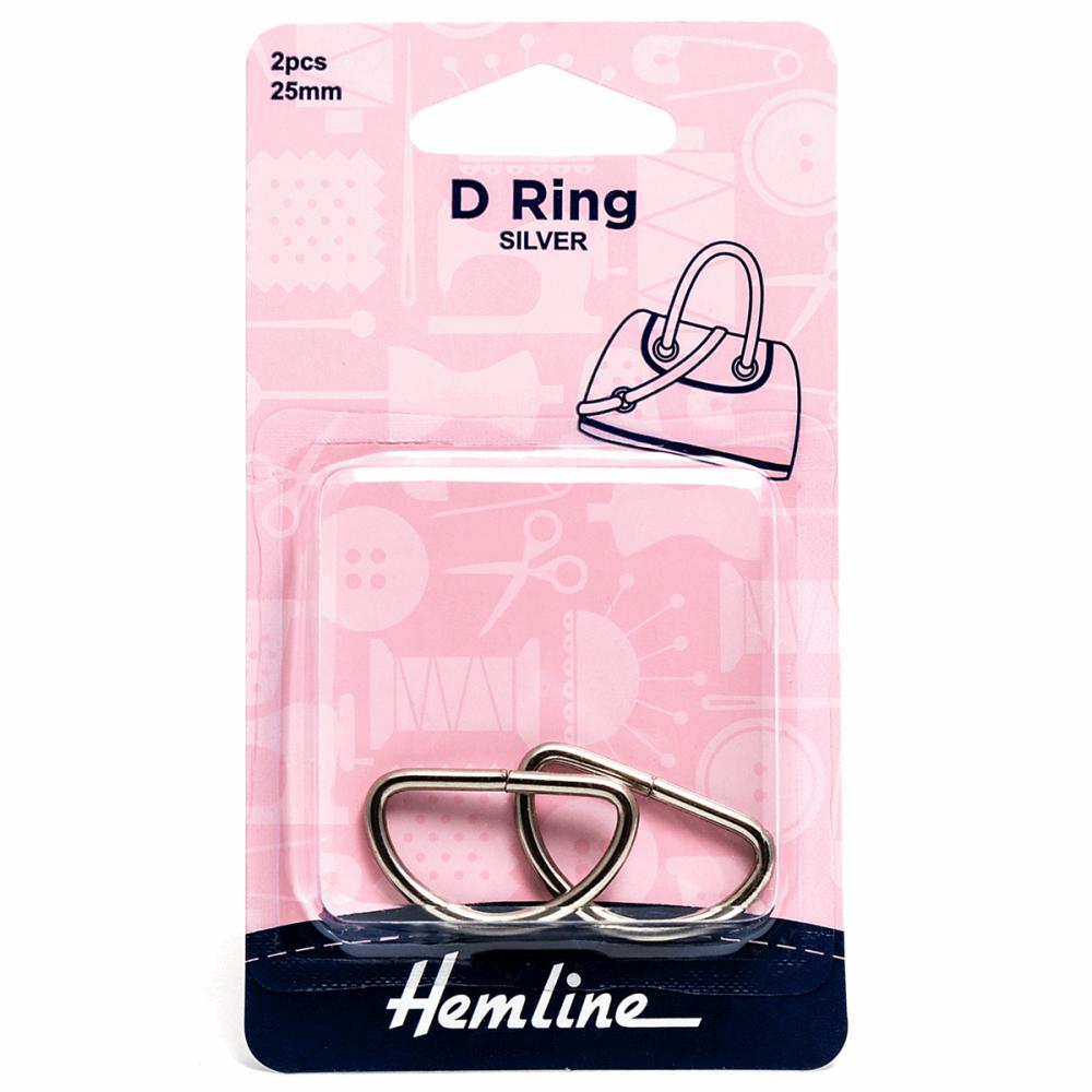 D ring x 2 by hemline 25mm silver by hemline