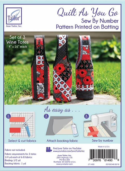 Quilt as you go set of 3 wine totes