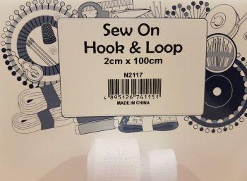 Sew on hook and loop 2cm x 100cm