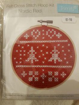 Trimits felt cross stitch hoop kit Nordic red
