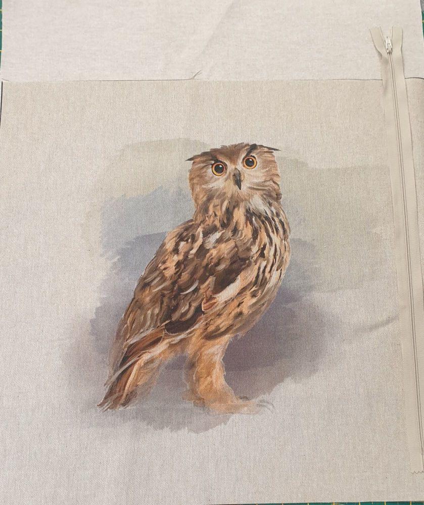 pop art prints linen look digital cushion cover panel kit Owl