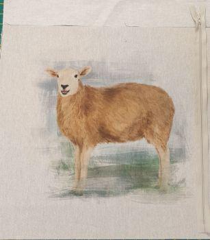 pop art prints linen look digital cushion cover panel kit Sheep