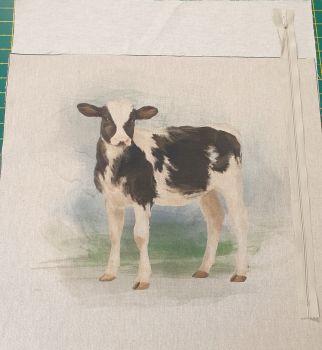 pop art prints linen look digital cushion cover panel kit Cow