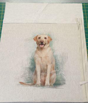 pop art prints linen look digital cushion cover panel kit Golden Labrador