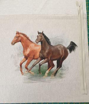 pop art prints linen look digital cushion cover panel kit Horses