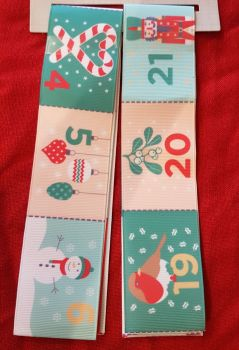 Christmas advent calendar ribbon 87 x 5cm x 2