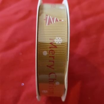 Christmas ribbon cross grain 16mm x 5m merry Christmas red and white on gold