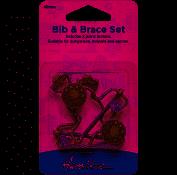 Hemline Bib and brace set 40mm brass by hemline
