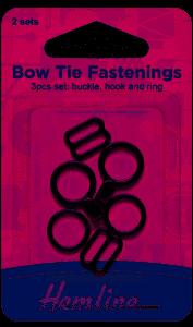Hemline Bow tie fastenings x 2 sets black